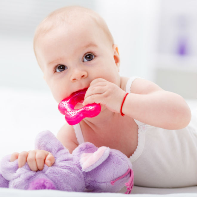 a teething baby chewing on a toy
