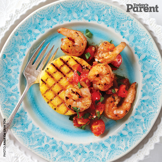 Grilled Polenta Cakes with Shrimp and Tomatoes recipe - Today's Parent