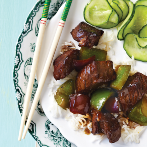 Sticky Stir-Fried Beef with Green Peppers