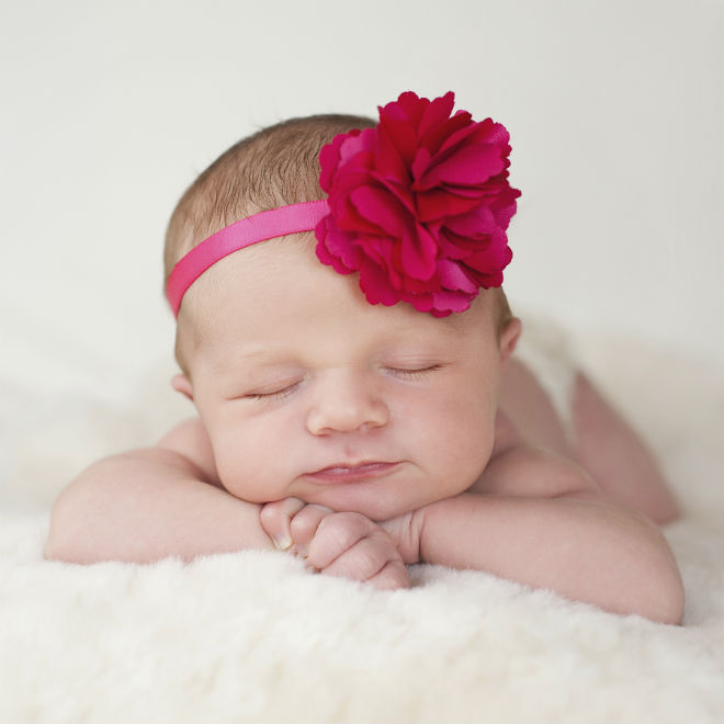 spring baby with flower headband