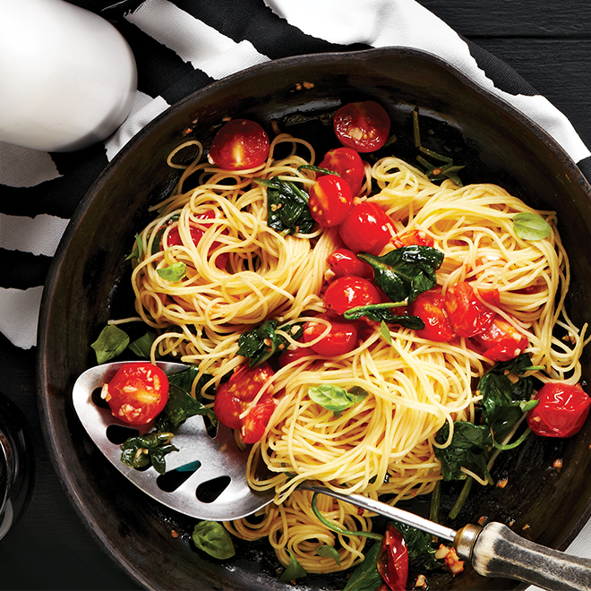 Capellini with Cherry Tomatoes and Spinach