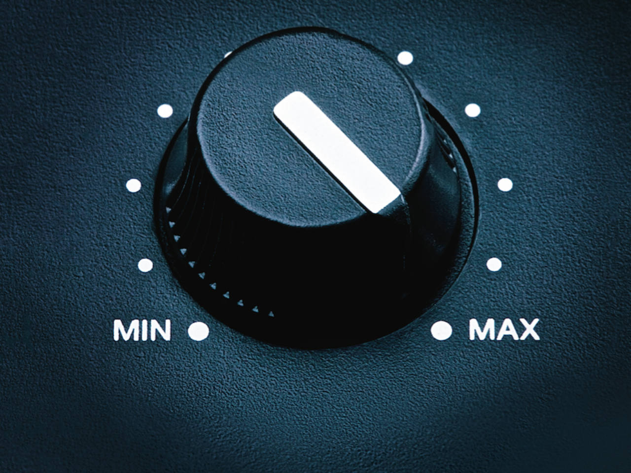 A dial turned to max