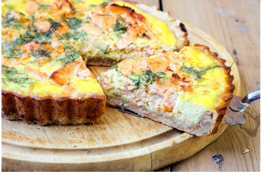 Salmon and Broccoli Quiche with Potato Crust