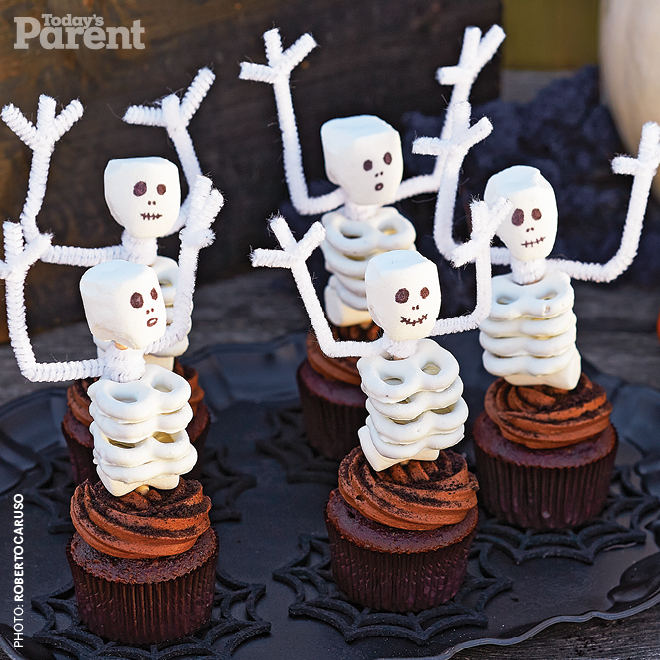 Marshmallow-and-Pretzel Skeleton Cupcakes