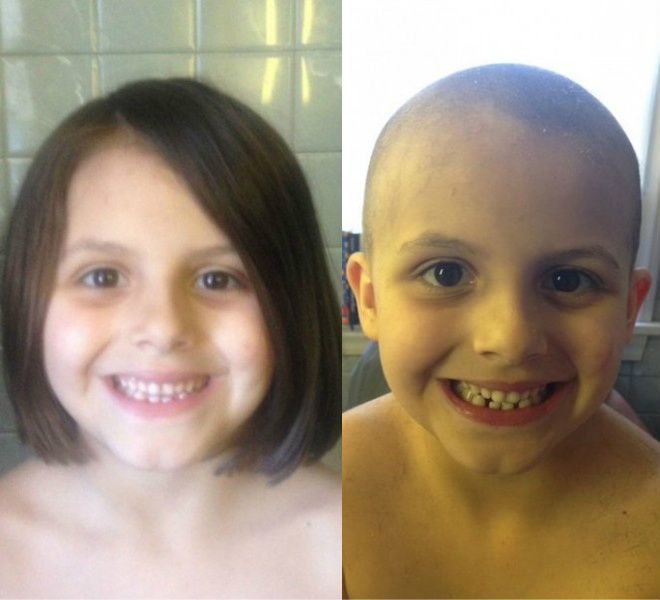 Aellyn before and after shaving her head. Photo: Paige Lucas-Stannard
