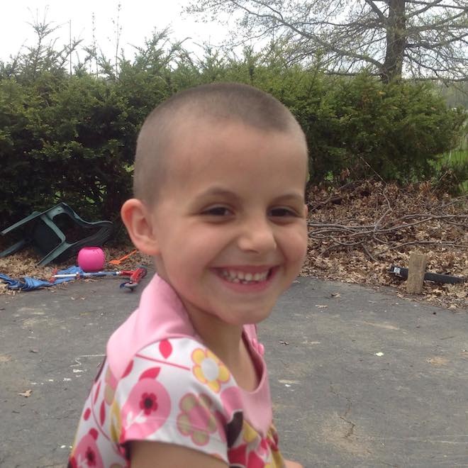 Aeylln with her shaved head. Photo Paige Lucas-Stannard