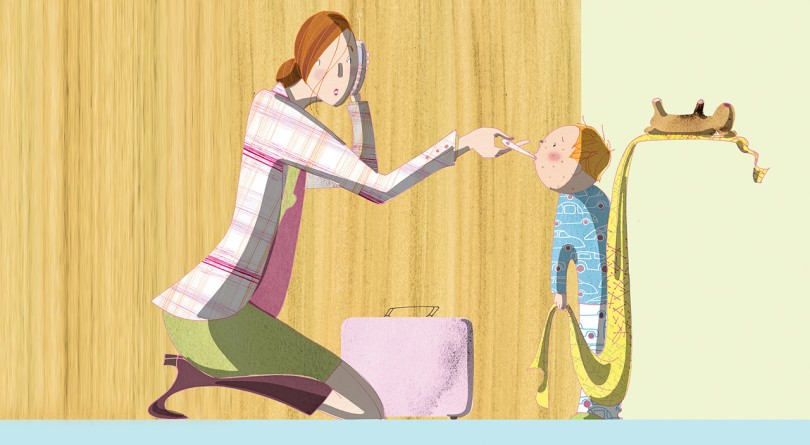 Working mom with sick child at home