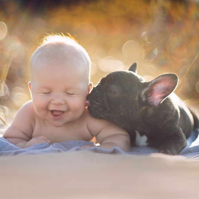 Too Cute Baby And Bulldog Puppy Born On Same Day Are Inseparable