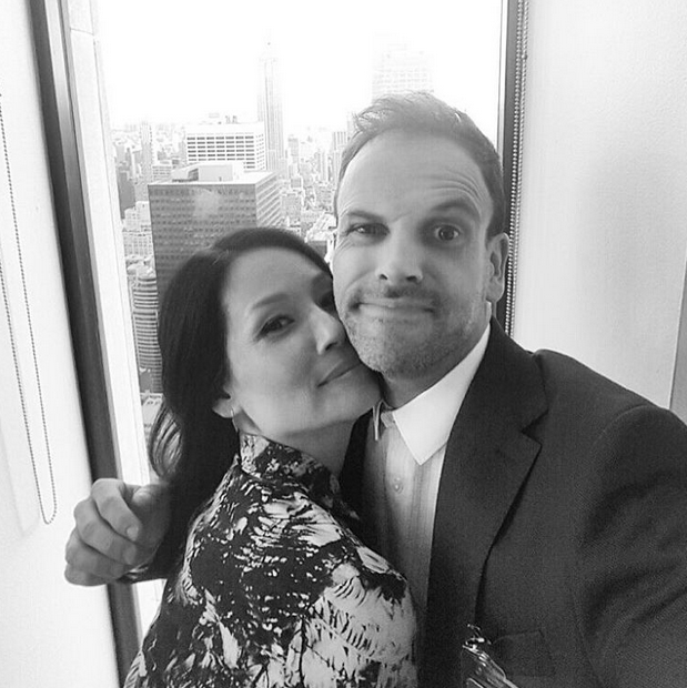 Lucy and costar Jonny Lee Miller on the set of Elementary. Photo: Lucy Liu via Instagram