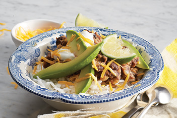 Tex Mex Black Beans on Rice–Oct15