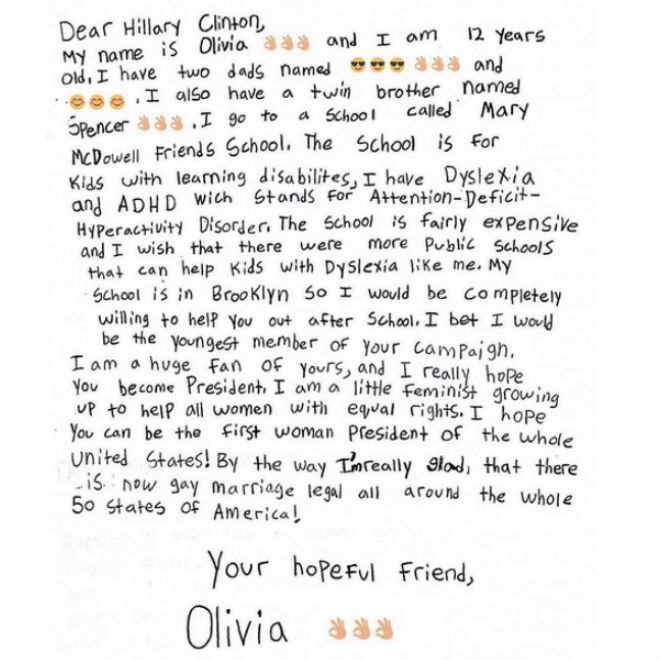 """""""Little feminist"""" writes letter to Hillary Clinton – Today ..."""