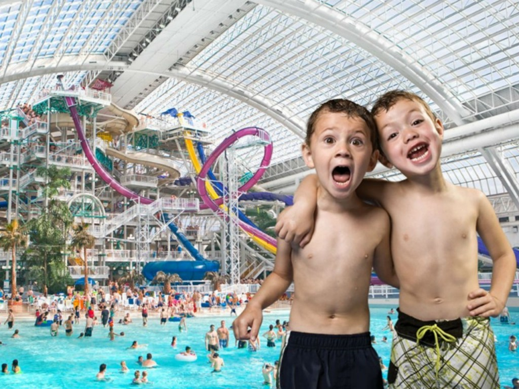 two boys at west edmonton water park in canada