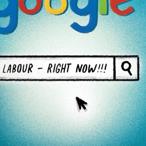 illustration of the Google homepage with the words Labour Right Now typed into the search bar