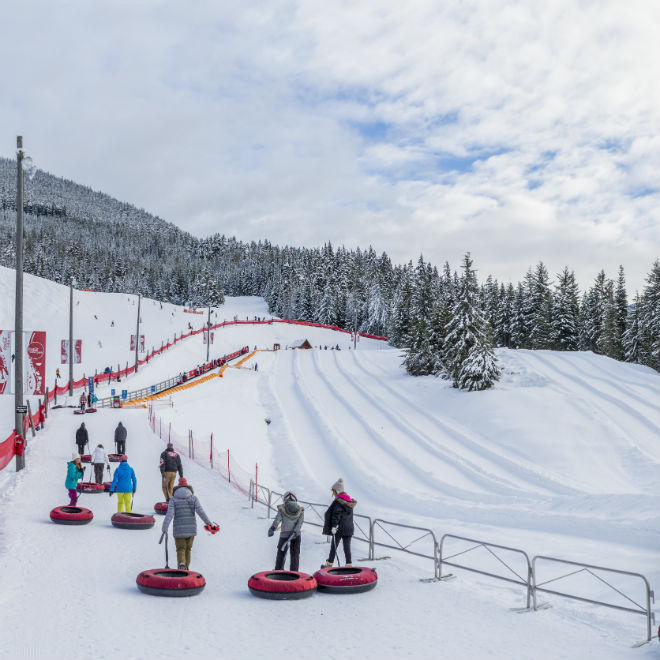 People tubing in Whistler, Blackcomb