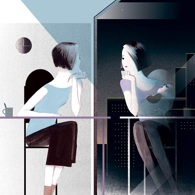 An illustration of a woman looking at her reflection in a mirror