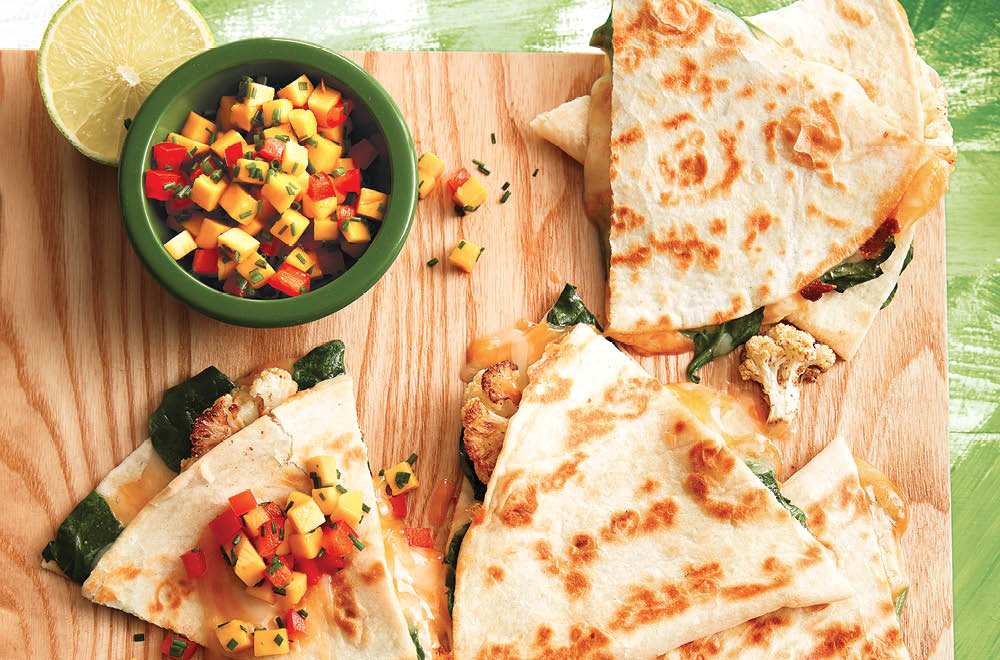 Roasted Cauliflower And Spinach Quesadillas