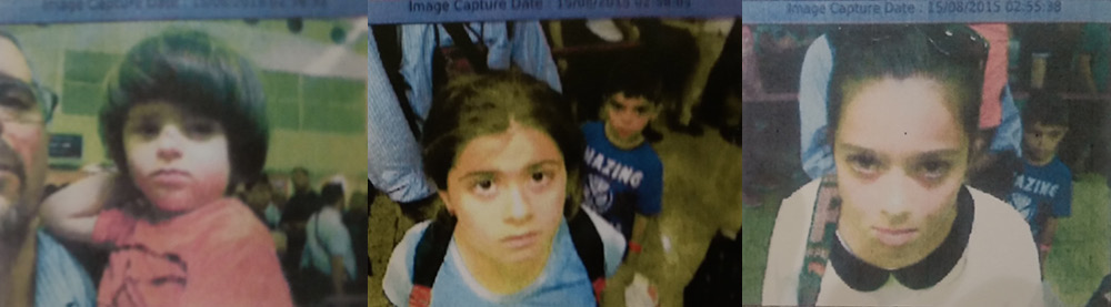 Surveillance images from Sulaymaniyah International Airport, left to right: Saren Azer with Meitan; Rojevahn with Darsim; Sharvahn. Photos courtesy of Alison Azer.