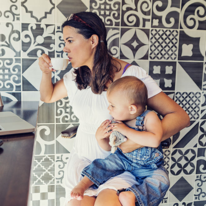 Image result for mother drinking coffee with baby