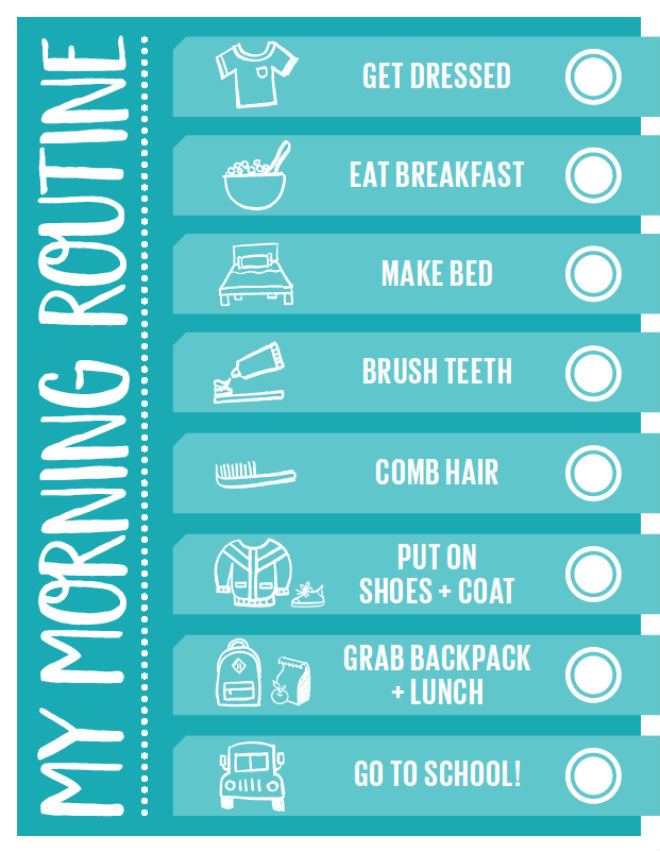 handy printable morning routine checklist