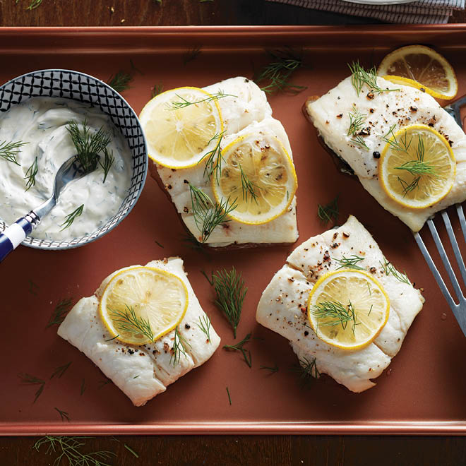 Roasted Fish with Creamy Dill Sauce