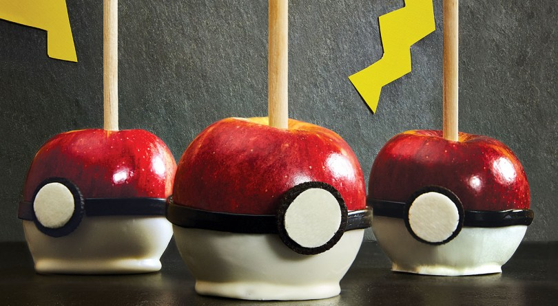 Candied apples made to look like pokeballs