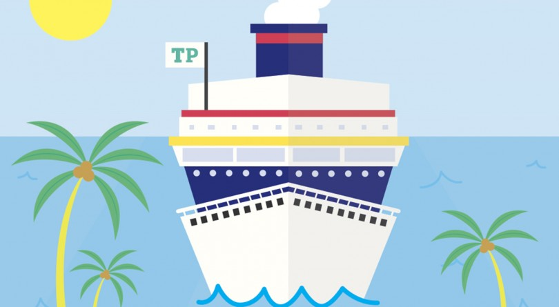 An illustration of a cruise ship in the sea
