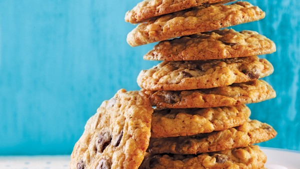 stack of homemade oatmeal chocolate chip cookies