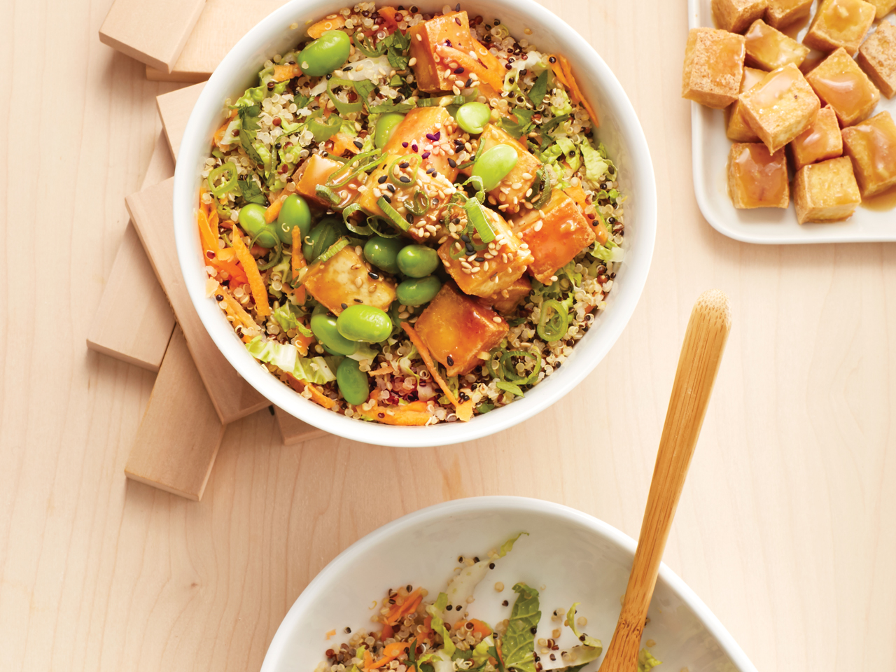 bowl of tofu quinoa stir-fry