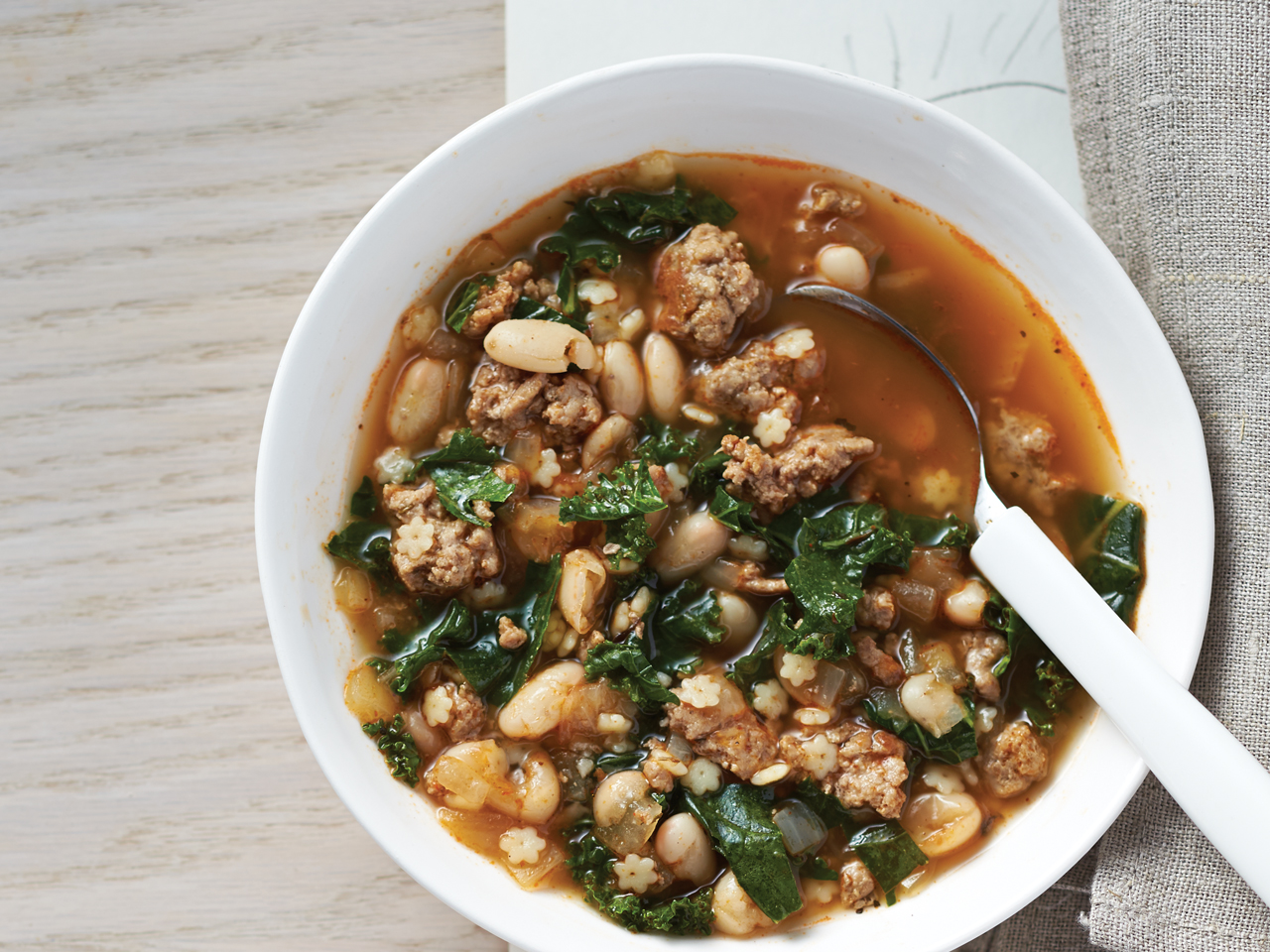 Turkey, Bean, Kale and Pasta Soup