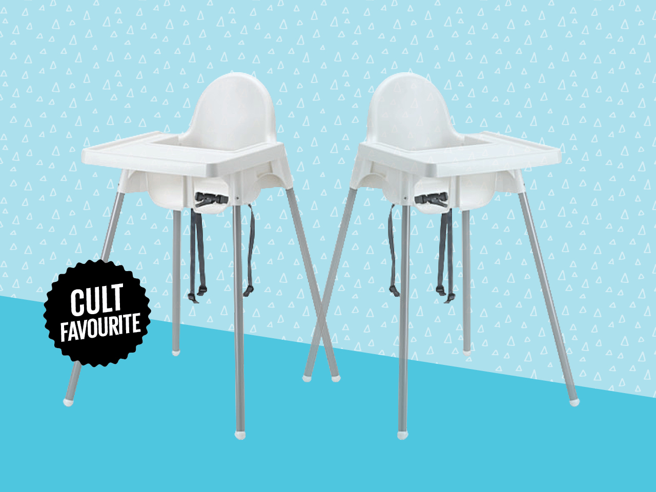 ikea antilop high chair on blue patterned background