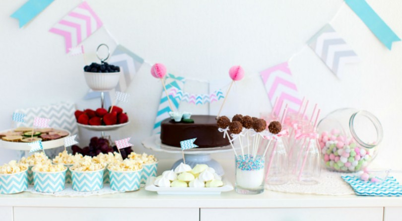 Baby shower candy and dessert table
