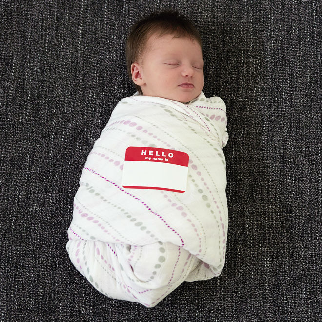 bundled baby with name label sticker