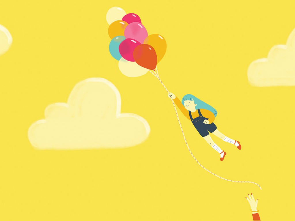 Little girl flying away with a balloon
