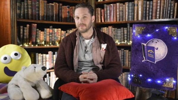 Tom Hardy getting ready to read a bedtime story