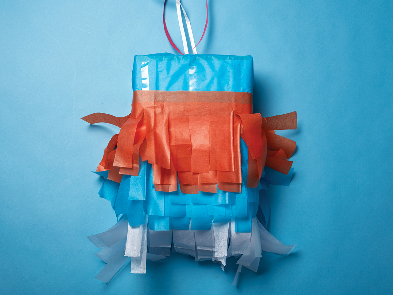 homemade pinata with tissue paper