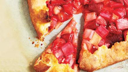 open-faced strawberry-rhubarb pie