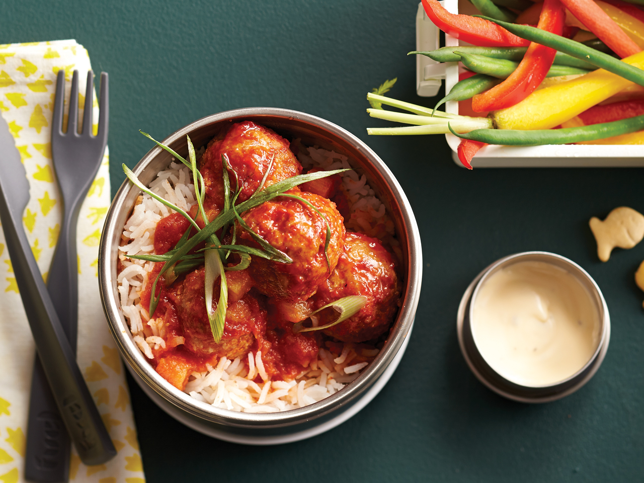 Sweet-and-Sour Meatballs on Rice