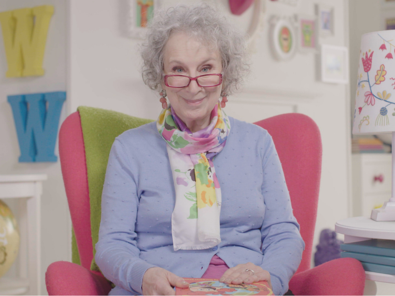 Photo of Margaret Atwood in the opening credits of the show