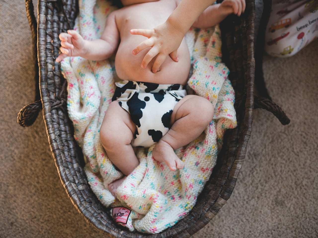 Baby in a cow print cloth diaper, laying in a bassinet, sister sticking finger in belly button