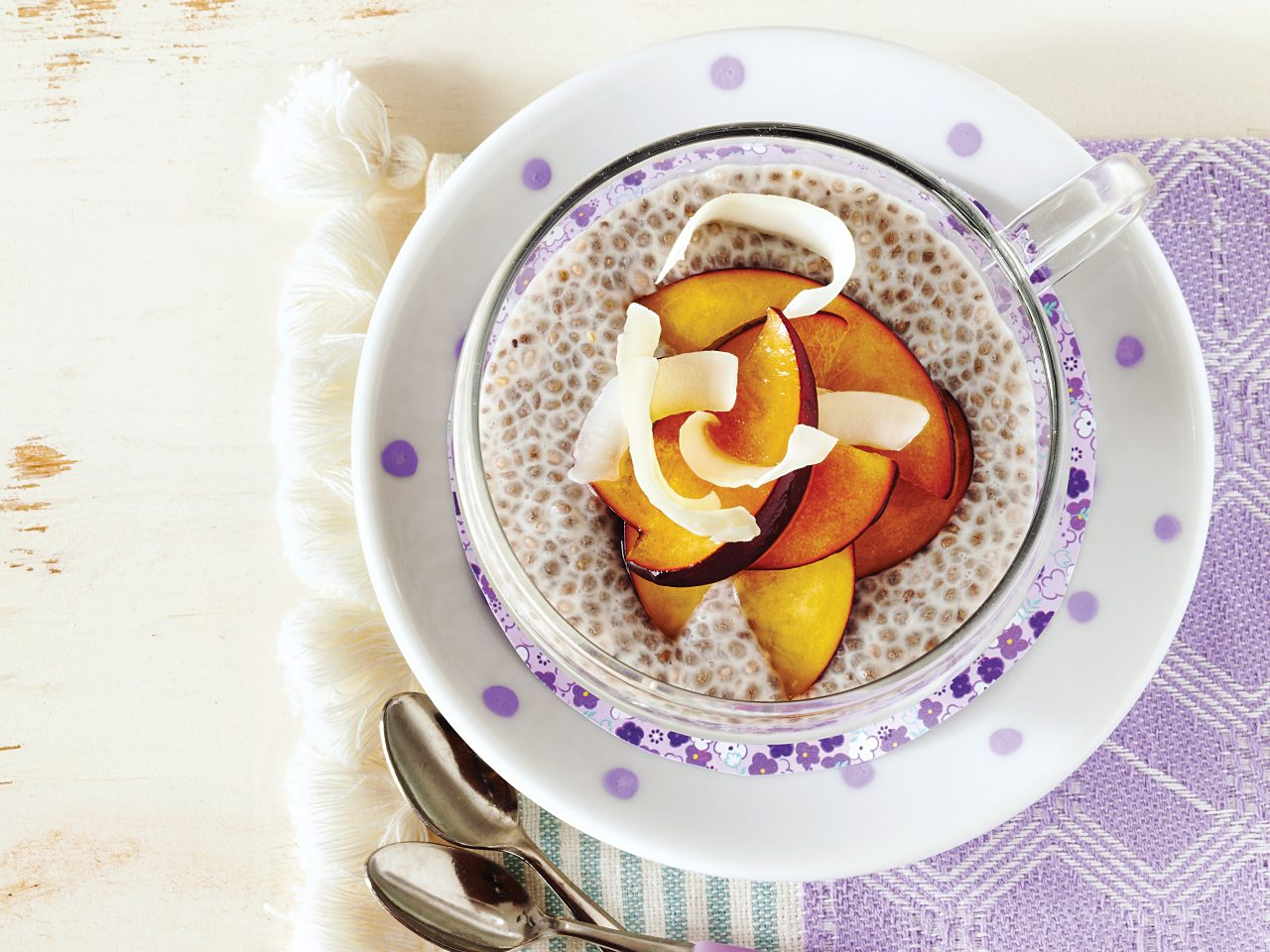 bowl of chia seed pudding with fruit