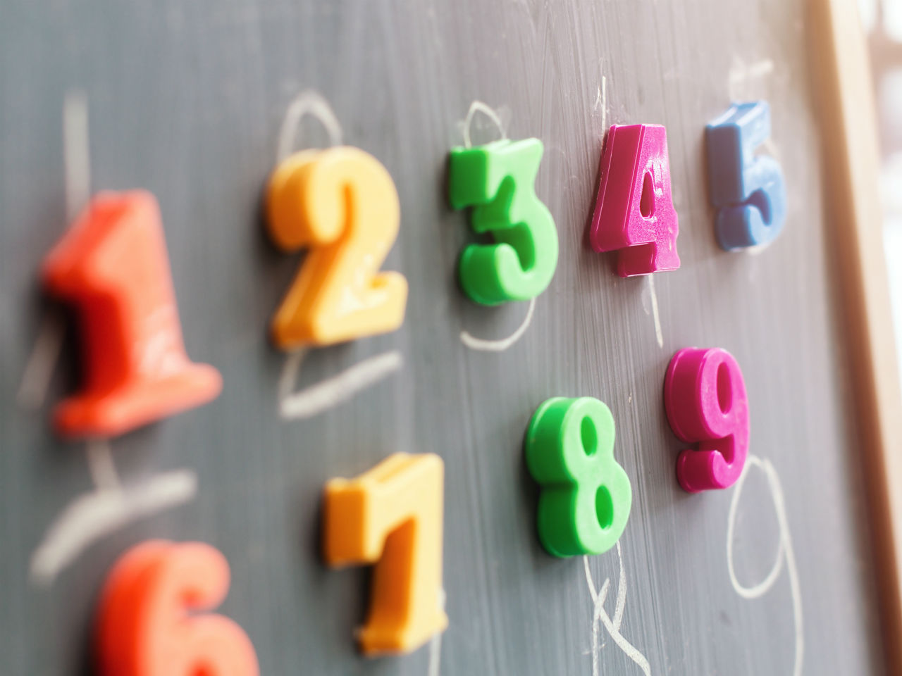 colourful numbers on a chalkboard in math class