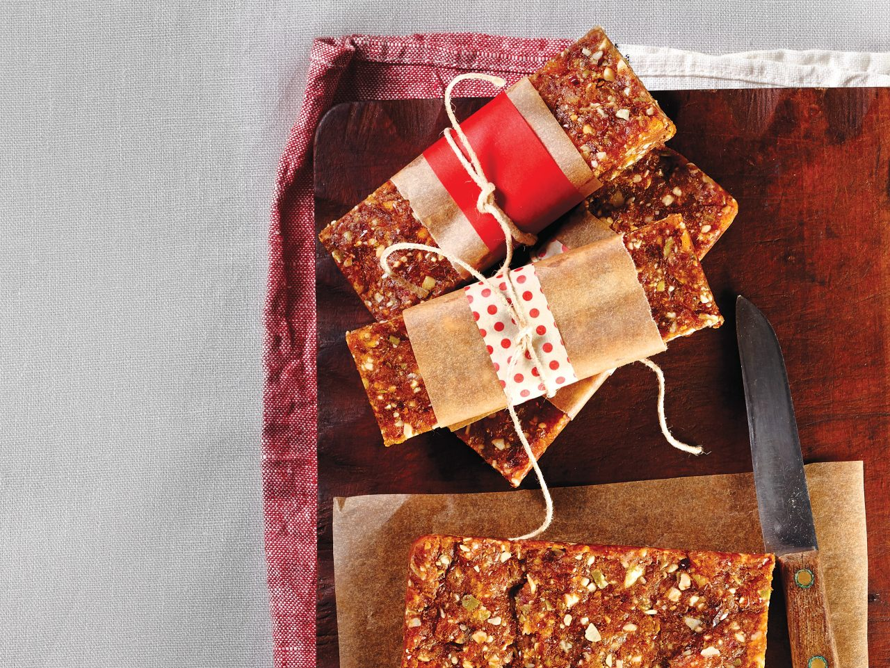 fruit and nut bars tied up with string