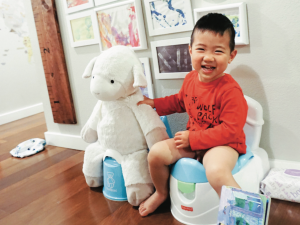 A little boy sitting on a potty next to his stuffed lamb, also on a potty
