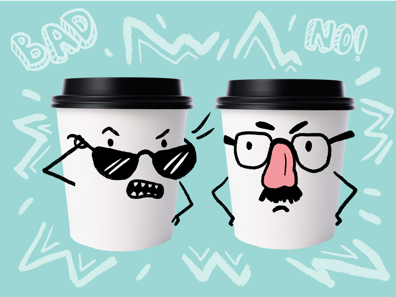 two disposable coffee cups with angry faces illustrated on them