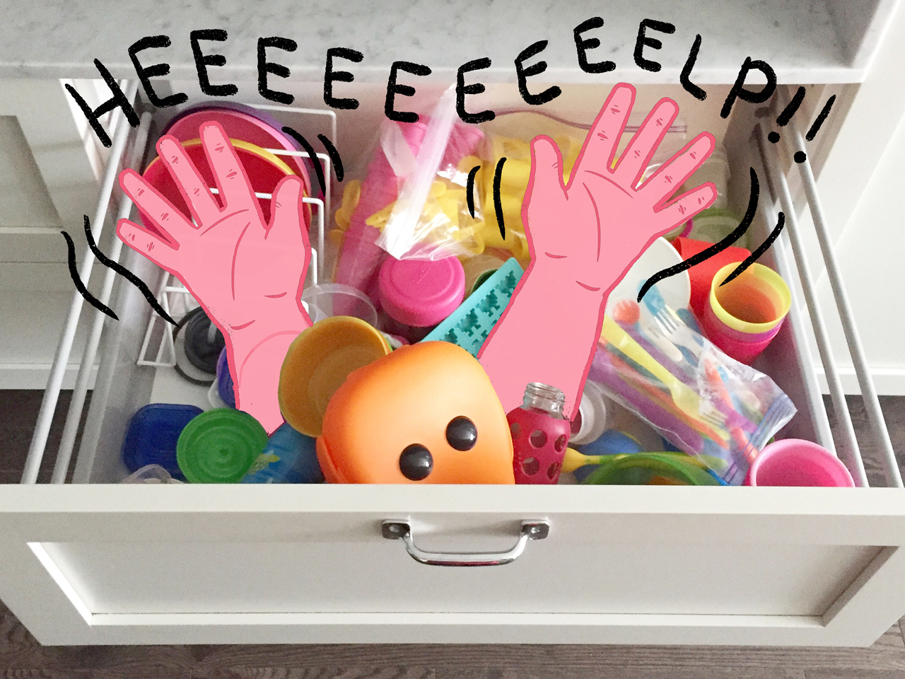 "messy drawer with illustrated hands saying ""help!"""