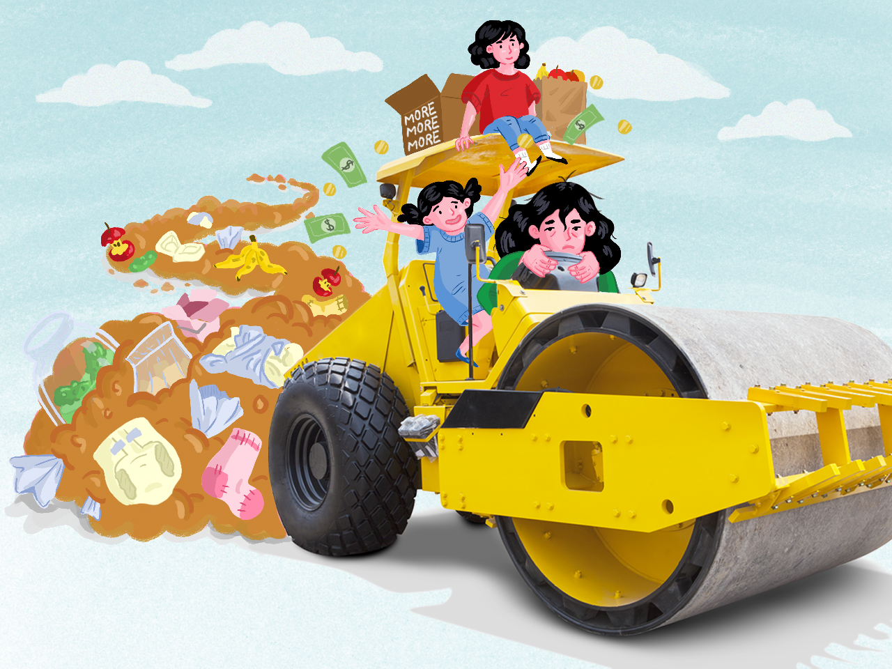 illustration of a mom driving a bulldozer over trash with happy kids on topt