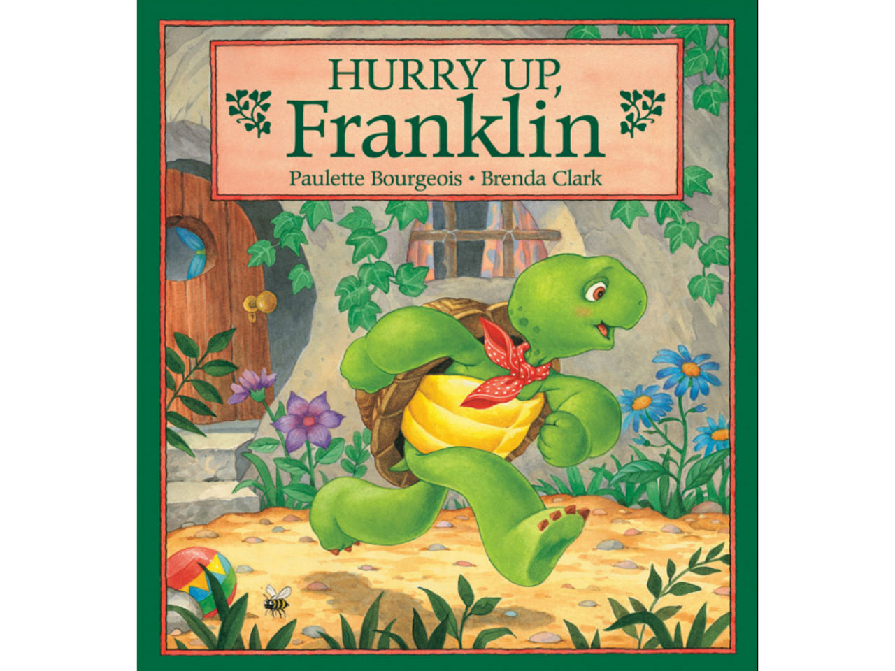 Book cover for Hurry Up Franklin. Franklin the turtle is pictured running.