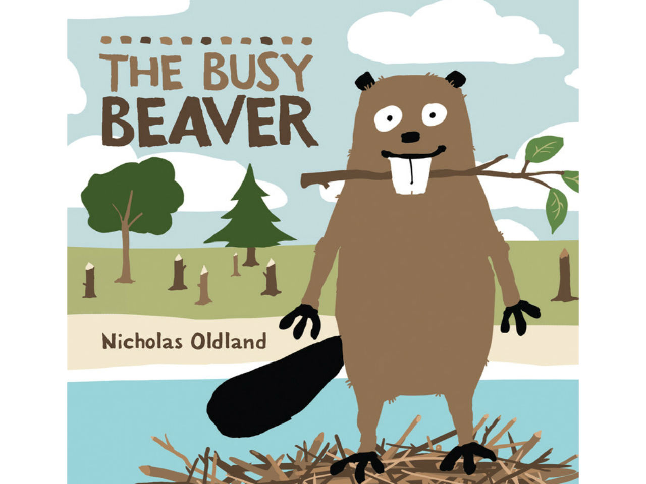 Book cover of The Busy Beaver with beaver by the river in a forest