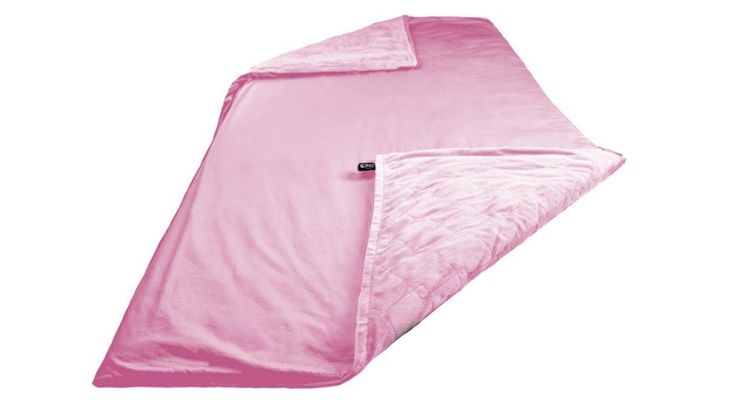pink weighted blanket laid out