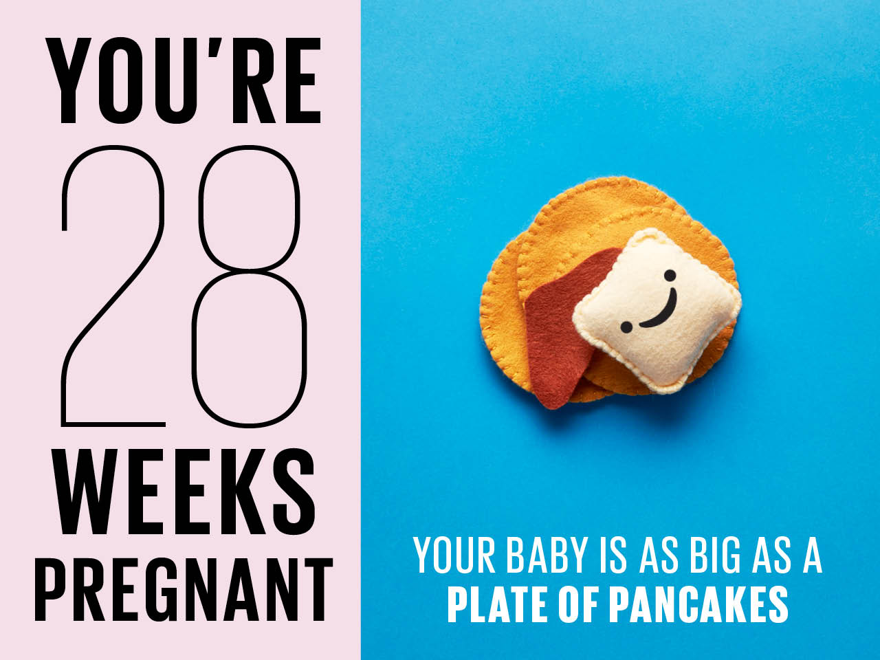 Felt pancakes used to show how big baby is at 28 weeks